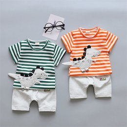 Wholesale summer baby boy clothes infant cartoon clothing set t shirt patns outfits bebe sport suit baby cotton tracksuit set