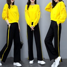O Legs Belt Australia - New women's wear, fashionable wide-legged pants, two sets, loose and slim leisure sportswear, sanitary suit, spring and Autumn