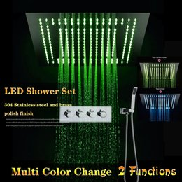 concealed shower set Australia - Luxury 3 Function Concealed Ceiling Shower Electric LED Rain Curtain Shower Head Set Big Size Hot Cold Faucet mixer