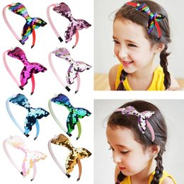 boutique party supplies wholesale 2020 - Kids Headband Ribbon Girls Accessories Hair Band for Kids Boutique Mermaid Hair Hoop for Party Supplies 8 Colors Free Sh