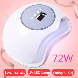 Uv Light Sources Australia - Largest Space 72W UV LED Nail Lamp Double Light Source Nail Dryer Light Curing LED Gel Polish Tools With Infrared Sensor Timer