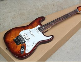 $enCountryForm.capitalKeyWord Australia - Free shipping Tobacco Sunburst Electric Guitar with White Pickguard,Reverse Headstock, Pickups,Floyd Rose,can be changed as you request