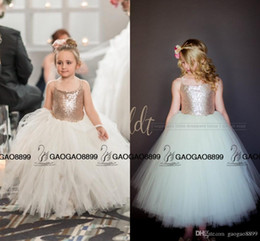 Gown Girls White Rose Australia - So Cute Sparkly Rose Gold Sequins Puffy Little Princess Flower Girls' Dresses Beautiful Tutu Gown Custom Make Cheap Little Girl Formal Dress