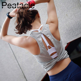 $enCountryForm.capitalKeyWord Australia - Peatacle Cute Open Back Yoga Shirts Knotted Womens T Shirt Gym Tank Top Sport Vest Twist Back Tee Backless Workout Crop Shirts