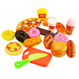 pretend toys Australia - 19Pcs set Kids Safety Cutting Pizza Bread Hurger Pretend Play Kitchen Food Toys Miniature Sets Toy Girls Gift for Children