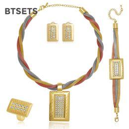 Dubai briDal jewelry set online shopping - BTSETS African Beads Jewelry Set Party Dubai Turkish Jewelry Sets For Women Geometric Imitation Crystal Bridal Necklace Set