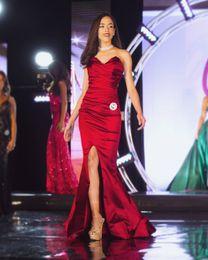 Discount miss world sexy - 2019 Miss World Dark Red Cheap Mermaid Prom Dresses Long Simple Sweetheart High Side Split Formal Dress Red Carpet Runwa