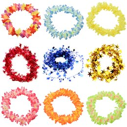 Party Supply Leis UK - Party Beach Tropical Flower Necklace Hawaiian Luau Petal Leis Festival Party Decorations Wedding Supplies