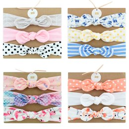 fabric for headbands 2019 - Baby Cotton Headband With Fabric Hair Bow Hair Accessories head bands Set (3pc) For Toddler Girl DHL FJ370 cheap fabric
