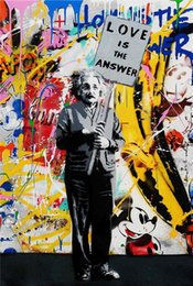 love canvas print NZ - Mr Brainwash Handpainted & HD Print Graffiti Art Oil Painting Love is The Answer On Canvas Wall Art Home Office Deco High Quality g192