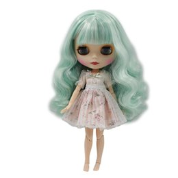 China Factory Blyth Doll Nude Dol Mint Green Long Wavy Hair With No Bangs Matte Face Red Mouth 4 Colors For Eyes Suitable For DIY suppliers