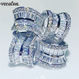 $enCountryForm.capitalKeyWord NZ - Vecalon Big Luxury Flower Ring 925 sterling silver T shape Diamond Engagement Wedding band rings for women Finger Jewelry