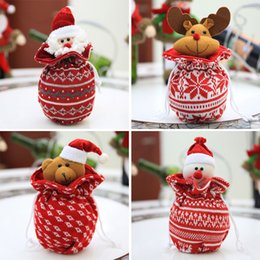 doll knitting NZ - Christmas Knitting Doll Apple Candy Gift Bag Wrapping Kids Party Xmas Ornaments
