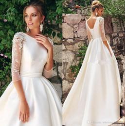 Bridal t shirts online shopping - 1 Long Sleeves Lace Wedding Dresses Crew Neck Satin Applique Beaded A Line Sweep Train Wedding Bridal Gowns robes de mariée