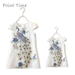 New Stylish Clothing Australia - New Stylish Sisters Dresses Family Clothes Peacock Embroidery Dress Short Sleeve Family Girls Clothing Dress Wihte Blue Y19051103