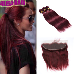 Wine Red Hair Color Indian Australia - Wine Red 99J Straight Hair Bundles with Lace Frontal Closure 8A Indian Hair With Closure Burgundy Virgin Human Hair Weaves with Lace Frontal