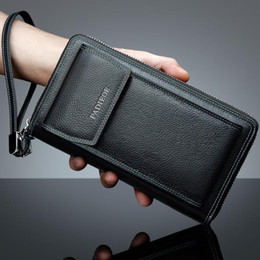 mens wallet cell phone holder Canada - Wholesale- Padieoe New Fashion Men's Genuine Leather Wallets Casual Mens Phone Bags Business Men's Wallet Purse Leather Zipper Wal