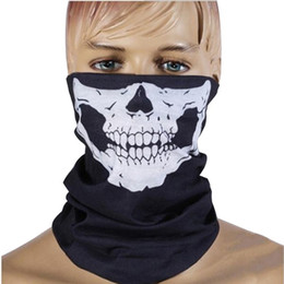 Biker face scarves online shopping - 1 Piece Motorcycle Mask Skull Ghost Mask Biker Face Shield Face Masks Neck Scarf Balaclava Halloween Masquerade Mask Unisex