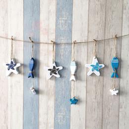 $enCountryForm.capitalKeyWord Australia - 1 PC Fish decorated Marine Pendant For Kid Room Hang Mediterranean Starfish Hung Fish Nautical Decor Mini Adorn Crafts Wood