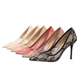 Flowered Evening Shoes UK - Women Floral Sexy Lace Stilettos Dress Shoes Lady Stiletto High Heels Party Wedding Evening Pumps Pointed Toe Slip On Shoes