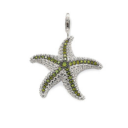 $enCountryForm.capitalKeyWord UK - Green CZ Pave Setting Starfish Charm Pendants for Necklace Women Men Silver Sea Star Fashion DIY Jewelry Accessories 2018 New