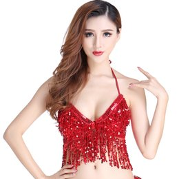sequin fringe dance Australia - Women's Latin Belly Dance Costume Bra Top With Chest Halter V-Neck Backless Sequin Fringe Crop Top Party Club Wear