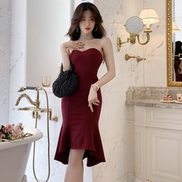 Discount hot sexy evening wedding dresses - Prom Dress Hot Ins Sexy Mermaid Mini Wine Bodycon Slim Wedding Evening Cocktail Dinner Party Elegant Women Dresses 330