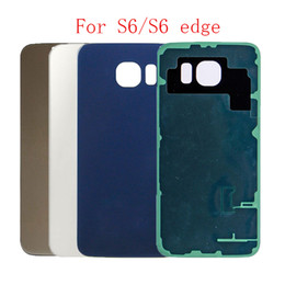 s6 back housing Australia - 10Pcs Back Glass cover For Samsung Galaxy S6 edge G925 G920 Replacement Battery Door Case housing with sticker + IMEI print parts