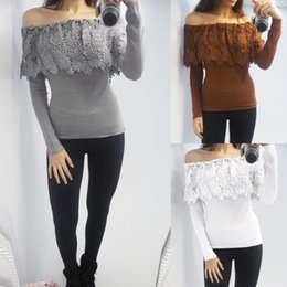 Wholesale Women Fashionable Tops Australia - Fashionable very comfortable and beautiful Womens Casual Long Sleeve Off Shoulder Lace Strapless Tee T-shirt Tops #20