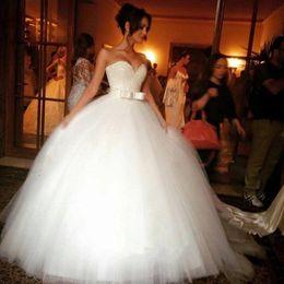Wholesale beautiful tops images online – design Chic Sweetheart Tulle Puffy Beautiful Wedding Dresses with Sash Top Sequins Designer Wedding Dresses Vestidos De Novia Floor Length