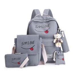 $enCountryForm.capitalKeyWord Australia - LOOZYKIT 5pcs set Women Backpack Canvas Printing Smile School Bags Teenage Girl Waterproof Nylon Laptop Pack Mochila Backpack
