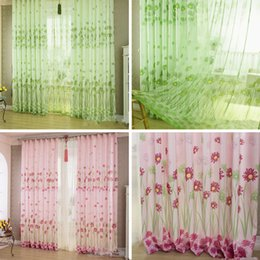 sunflower curtains 2019 - Pastoral curtains 100cm x 200 cm Sunflower Tulle Door Drape Panel Sheer Scarf Valances Window Curtain VB701 T40 cheap su