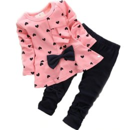 Red White Blue Tutus UK - Children's Clothing 2018 Europe and The United States New Love Bow Girl Princess Long-sleeved Shirt Children's Suit