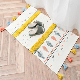 $enCountryForm.capitalKeyWord NZ - Nordic style multi-function 3D pattern cotton knitting rug with tassels , door mat ,decoration bedside rug,cotton bathroom mat
