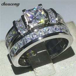 Diamond Band Set Australia - choucong 2018 Princess Cut Promise ring set Diamond 925 Sterling silver Engagement Wedding Band Rings for women men Gift