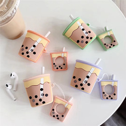 BuBBles case online shopping - For AirPods Case Cartoon Cute Funny Milk Bubble Tea Drink Bottle Earphone Protect Cover For Airpods with Finger Ring Strap car