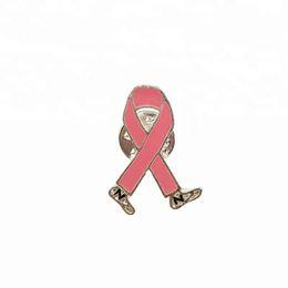 c76f2018d01 100pcs lot pink enamel ribbon brooch Breast cancer awareness Lapel brooch  pin