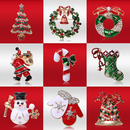 Snowmen broocheS online shopping - fashion Alloy christmas brooches for women Xmas Tree Santa Claus snowman crystal brooch pins costume jewelry