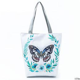 4cab9686a Butterfly Printed Casual Tote Large Capacity Female Handbags Single Shoulder  Shopping Bags Daily Use Women Canvas Beach Bag