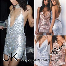 28466c34 UK Womens Backless Sequin Dress Ladies Kendall Chain Choker Slip Dress Size  6-14