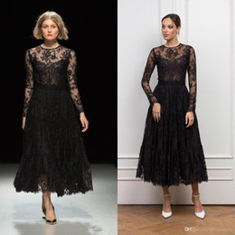 Robe gothic online shopping - Fashion Show Gothic Black Tea Length Prom Dresses Long Sleeve Jewel Neck Full Lace Formal Gowns Evening Wear robes de soirée Custom