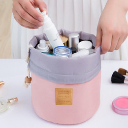 nylon storage boxes 2019 - High Quality Waterproof Barrel Travel Cosmetic Bag Cosmetic Bag Nylon Wash Bag Dressing Box Storage case Large Capacity