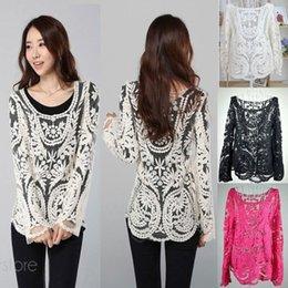 $enCountryForm.capitalKeyWord Australia - Fashion Crochet Lace Tops Women Blouses Hollow Out Lady Lace Shirt Lace Blouse BE1400