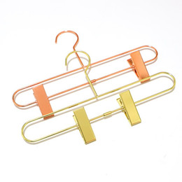 Stand clotheS clothing garment online shopping - Nordic Style Rose Gold Metal Iron Trousers Hanger Rack Pants Skirt Clothes Clip Stand Hanger LX8781