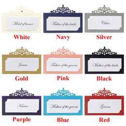 $enCountryForm.capitalKeyWord Australia - 48 Pieces Laser Cut Personalized Wedding Party Table Holder Place Name Cards With Rhinestones, Free Custom Printing Guest Names Y19061704