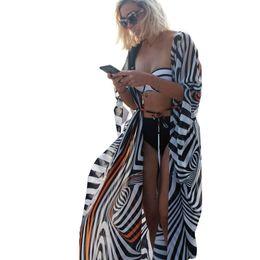 $enCountryForm.capitalKeyWord UK - Large Size Chiffon Beach Cover Up Striped Batwing Hull Kimono Bathing Suit Long Knit Jacket Summer Bathing Suit Overhead Hotter Y19071201