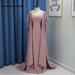 Heavy Red Evening Gowns NZ - Heavy Beaded Dirty Pink Arabic Evening Dress with Cape Sleeve Yousef Prom Dresses 2019 Robe dubai Soiree Formal Long Party Gowns