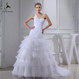 $enCountryForm.capitalKeyWord NZ - Eren Jossie 2019 New Fashion Ruffled Organza White Designer Wedding Dresses With Hand Sewing Beads One Shoulder Design