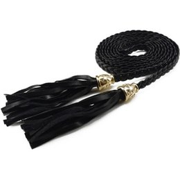 $enCountryForm.capitalKeyWord Australia - Women Luxury Ladies Braided Belt Leather Tassel Thin Waist Tassles Rope Belts Waistband Cummerbund for Dress Shorts Jeans Skirt
