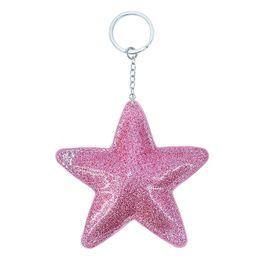 $enCountryForm.capitalKeyWord Australia - New Bright Artificial PU Leather Pentagram Star Keychain Pendant Girl Bag Car Key chains Accessories Keyring